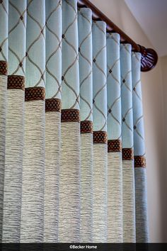 Ripplefold panel embroidered fabric trim banding color blocking Add Banding to your window treatments for some added interest and personality! Curtains And Draperies, Luxury Curtains, Home Curtains, Custom Curtains, Drapery Panels, Window Curtains, Color Block Curtains, Valances, Drapery Styles