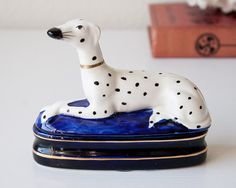 Vintage dalmatian trinket or jewelry box Fitz and Floyd spotted dog dalmation figurine