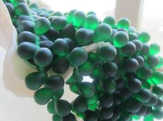 Czech Glass Bead Large Tear Drop Matte Emerald by gypsybeadpeddler, one of the top colors for Spring 2013!