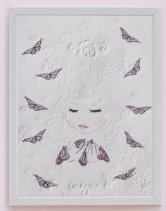 'Phoenix' fine art print One Sonny Day. Australian kids and children's art. Soft pink flower crown, lilac floral headdress, delicate antique lace embossing, pink purple butterflies. Perfect for wall art, little girls bedroom deco, children kids gifts, christening, baby shower, christmas present.