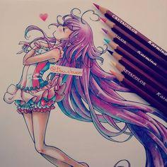 """Michan (^°^) """"Pencil cretacolor"""" Dibujo que hice hace un tiempo pero me sigue…"""