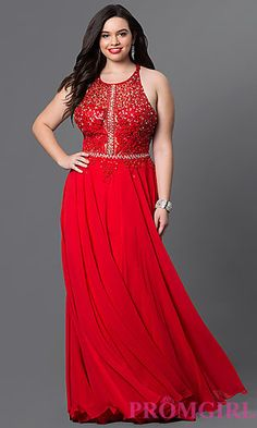 Lace Racerback Top Chiffon Prom Dress at PromGirl.com