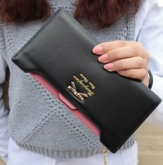 Y-FLY 2016 Fashion PU Women Wallet Multifunctional Long Wallet Vintage Ladies Clutch Thin Cheap Coin Purse Card Holder Coin Wallet, Coin Purse, Vintage Clutch, Cute Bows, Womens Purses, Black Purses, Leather Wallet, Pu Leather, Leather Bags