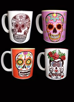 Mexican Day of the Dead  Skull cups by GeorgiaIllustration on Etsy