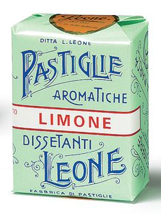 Leone Lemon Pastilles - gorgeous lettering and design - so Florentine.