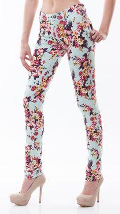 Floral Print Skinny/Mint via Poplooks