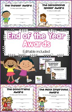 40 End of the Year Classroom Awards - Editable included. Your students will love to receive these fun and colorful end of the year awards. These certificates focus on academic achievement, character and personality traits. There are 40 unique awards to choose from so every child in your class can have a different one if you would like. I have included two certificates for many of the awards (one with a girl on it and one with a boy).