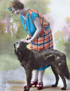 Lady  with Belgian Shepherd Sheepdog Groenendael dog - tinted