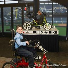 "Like and share on Facebook to help raise money.  Kody & the Build-A-Bike Donation Station at the launch of the ""My Bike"" Program at the Press Conference with Governor Corbett. — at Hall Of Fame Club @ Pnc Park."