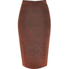 River Island Metallic bronze wrap top pencil skirt ($24) ❤ liked on Polyvore featuring skirts, sale, knee length pencil skirt, metallic midi skirt, fitted pencil skirt, brown pencil skirt and midi skirt