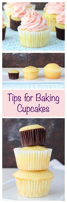 Tip and Tricks for making perfect cupcakes. This is your go-to guide for how to bake cupcakes including pan sizes and how full to fill each liner. (chocolate filling for cupcakes) Köstliche Desserts, Delicious Desserts, Dessert Recipes, Health Desserts, Drink Recipes, Dinner Recipes, Cake Decorating Tips, Cookie Decorating, Baking Cupcakes