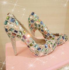Sheepskin handmade rhinestone claw drill gem dinner platform high heeled wedding shoes crystal bridal shoes US $172.22