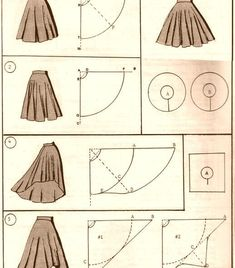 Best 10 Here are all the basic circle skirt patterns. Check out the link for more instructions and variations. Circle Skirt Pattern, Circle Skirt Tutorial, Pattern Draping, Doll Dress Patterns, Skirt Patterns Sewing, Clothing Patterns, Baby Dress Tutorials, How To Make Clothes, Diy Dress