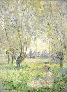 """wetreesinart: """" Claude Monet (Fr. 1840-1926), Femme assise sous les saules, 1880, huile sur toile, 81,1 × 60 cm """""""