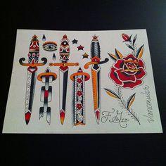 47 Ideas Tattoo Old School Rose Flash Art For 2019 New School Tattoo Design, Old School Tattoo Designs, Traditional Dagger Tattoo, Traditional Tattoo Flowers, Sailor Jerry, Elephant Tattoos, Animal Tattoos, Rose And Dagger Tattoo, Majora Mask