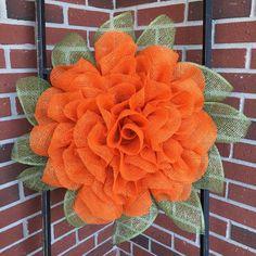 Items similar to Marigold Wreath, Burlap Wreath, Front Door Wreaths, Handmade Wreath, Handmade Gift on Etsy Burlap Flower Wreaths, Sunflower Wreaths, Deco Mesh Wreaths, Diy Wreath, Burlap Wreaths, Wreath Ideas, Summer Door Wreaths, Autumn Wreaths, Wreaths For Front Door