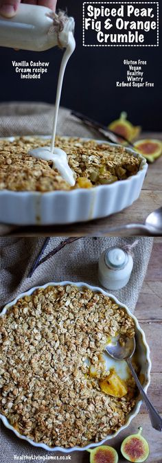 This healthy crumble is the perfect autumn or winter dessert to share with family or friends. It is extremely simple to make and is gluten free, vegan, plant-based, refined sugar free and only contains 7 easily sourced healthy ingredients. Whole Food Desserts, Gluten Free Desserts, Dairy Free Recipes, Vegan Recipes, Easy Recipes, Healthy Desserts, Gluten Free Crumble, Smoothies, Spiced Pear