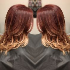 Blonde ombré with red hair
