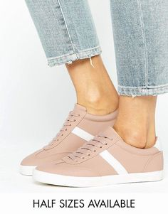 ASOS DELPHINE Stripe Lace Up Sneakers - Beige