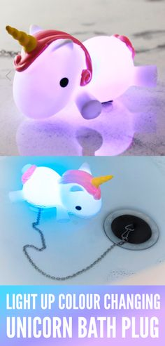 Oh my days I need one of these Light Up Unicorn Bath Plug's!