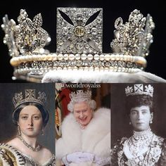 The George IV State Diadem, 1820 and features four bouquets of roses,thistles and shamrocks .The motifs are set on a band of diamond scrollwork between two bands of pearls. The front cross has a 4 carat yellow diamond. British Crown Jewels, Royal Crown Jewels, Royal Crowns, Royal Tiaras, Royal Jewelry, Tiaras And Crowns, Royal Monarchy, British Monarchy, Elizabeth Ii