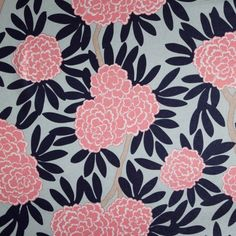 NAVY FLEUR CHINOISE FABRIC Asian blooms cascade through bold leaves & wandering branches in my principal pattern, Fleur Chinoise. Classic navy & poppy pink on aqua make this smart colorway tailored to fit any decor.