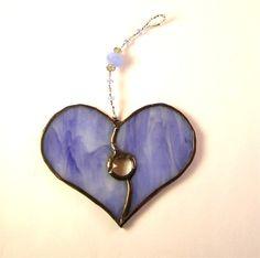 Stained Glass Heart SuncatcherBlue Purple by GreenhouseGlassworks, $20.00