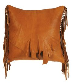 Gift Idea: Deerskin Pillow with Flap and Fringe – Square with buttery soft deerskin leather pillow is accented by a ruffled natural edge flap and matching fringe. http://rusticartistry.com/product/deerskin-pillow-with-flap-and-fringe-square/