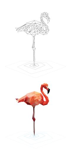 Low Poly Studies - Breno Bitencourt White Flamingo, Flamingo Art, Flamingos, Flamingo Tattoo, Geometric Tattoo Color, Geometric Drawing, Geometric Animal, Geometric Art, Geometric Designs