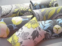 Pillow Boxes - Gift Boxes - Shades of Grey and Yellow Gift Boxes. $7.50, via Etsy.