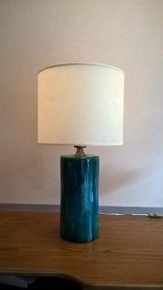 Lampa ceramiczna - walec turkusowy - studiodom - Lampy stołowe
