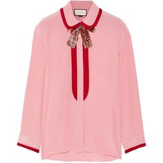 GucciGrosgrain-trimmed Silk Crepe De Chine Blouse (¥154,480) ❤ liked on Polyvore featuring tops, blouses, gucci, shirts, pink, red tuxedo, red shirt, pink blouse, pink tuxedo shirt and silk blouse