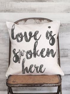 Pillow Cover Cotton Anniversay Gift Love is Spoken by JolieMarche