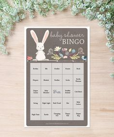 Only $5! Print as many games as you need for your shower. #babyshower #babyshowergames #bunny