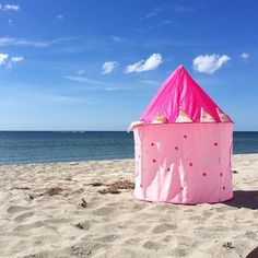 Because even at the #beach a little #girl needs her #castle.  #pink #sand #nature #sweet #etsy #etsyshop