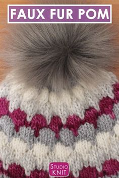Learn how to shop, make, style, and attach Faux Fur Pom Poms for knitted hats. You can get really creative by making DIY Pom Pom accessories. Crochet Beanie, Crochet Baby, Knitted Hats, Knit Crochet, Yarn Projects, Knitting Projects, Crochet Projects, Sewing Projects, Loom Knitting