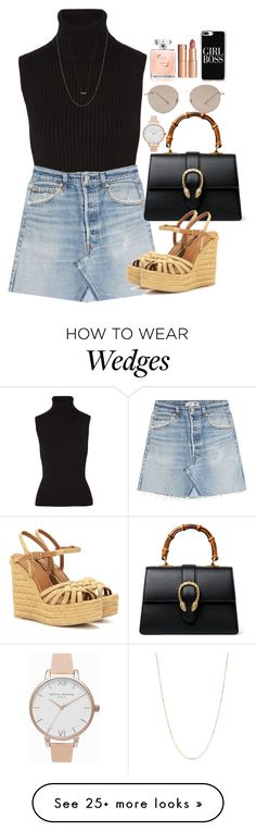 """Sem título #5490"" by lguimaraes on Polyvore featuring Michael Kors, RE/DONE, Gucci, Yves Saint Laurent, Olivia Burton, Charlotte Tilbury, Casetify and Adina Reyter"