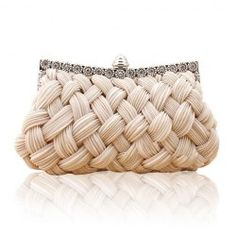 Wedding Women's Evening Bag With Weaving and Pure Color Design (APRICOT)