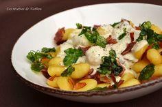 Gnocchi et pancetta grillés, sauce crémeuse au comté et cresson de fontaine frit