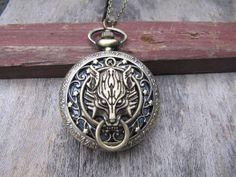 wolfhead pocket watch jewelry men's necklace Wedding by dbluesky12, $6.99