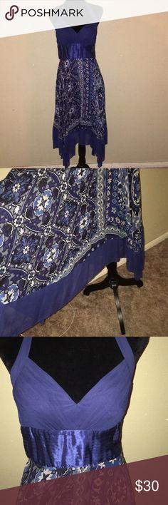 Sangria Hanker Chief Dress Royal blue floral design Sangria Dresses Asymmetrical