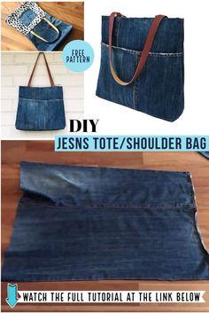 Diy Bags Jeans, Denim Bags From Jeans, Diy Old Jeans, Denim Tote Bags, Old Jeans Recycle, Diy Upcycling Jeans, Diy With Jeans, Diy Denim Purse, Denim Jean Purses