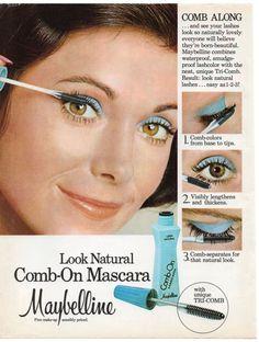 Vintage Maybelline Mascara Print Magazine Ad 1976 Original Cosmetics Beauty #Maybelline
