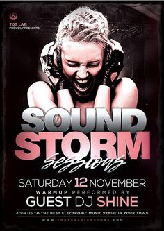 free sound storm psd flyer template