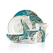 222 Fifth Dinnerware Eliza Teal & Peacock Garden Mix & Match Collection