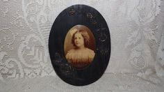 Antique Tin Type Picture Portrait Little Girl Wood Floral Ornate Frame by FabulousFinds1 on Etsy