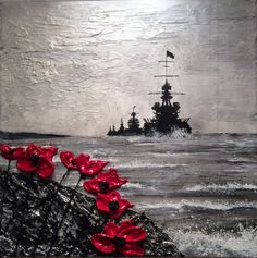 Remembrance Day art by Jacqueline Hurley Painting 'Where The Sea Winds Blow, The Poppies Grow' From The War Poppy Collection Remembrance Day Posters, Remembrance Day Pictures, Remembrance Day Poppy, Remembrance Tattoos, Soldier Tattoo, Shoulder Armor Tattoo, Ww1 Art, Military Tattoos, Geometric Tattoo Arm