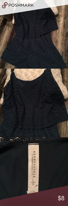 EUC! Aeropostale Romper Super cute navy blue romper with a floral lacy overlay. Adjustable spaghetti straps. Size large but fits more like a medium. No flaws, stains, of tears! Aeropostale Other