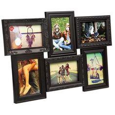 Balvi Magic 6 Aperture Frame Black at Contemporary Heaven Collage Frames, Frames On Wall, Modern Retro, Modern Contemporary, Skeleton Wall Clock, Off White Walls, Jungle Room, Romance, Home