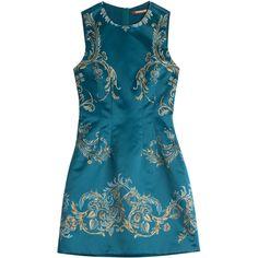 Roberto Cavalli Printed Satin Dress ($549) ❤ liked on Polyvore featuring dresses, short dresses, roberto cavalli, teal, mini cocktail dress, cocktail dresses, slimming cocktail dresses and blue evening dresses